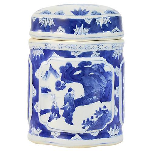 Blue & White Asian Jar