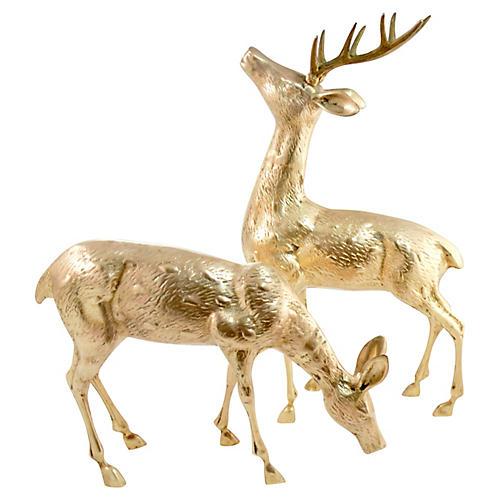 "Brass 18"" Buck & Doe, Pair"