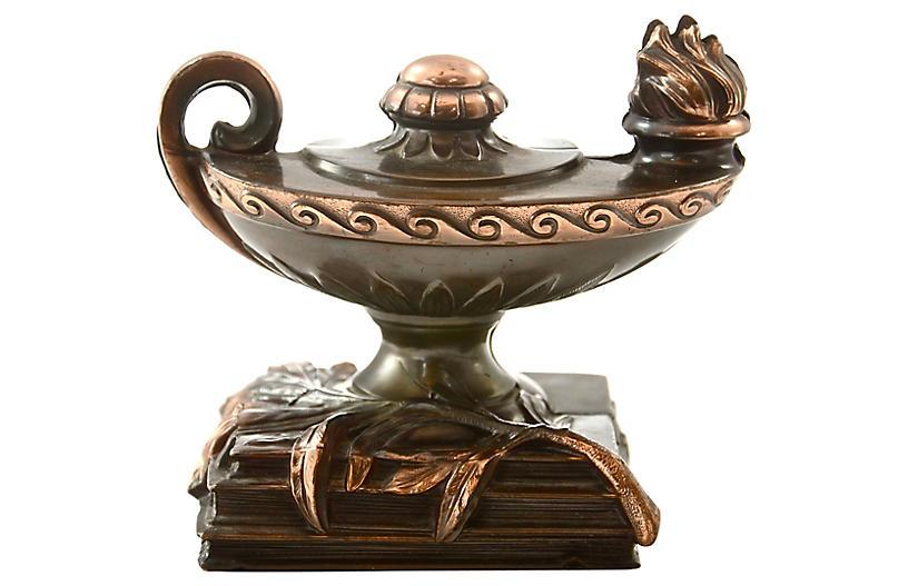 1940s Copper Oil-Lamp Bookends