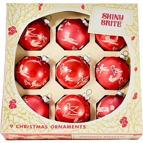 Red Shiny Brite Mica Bird Ornament, S/9