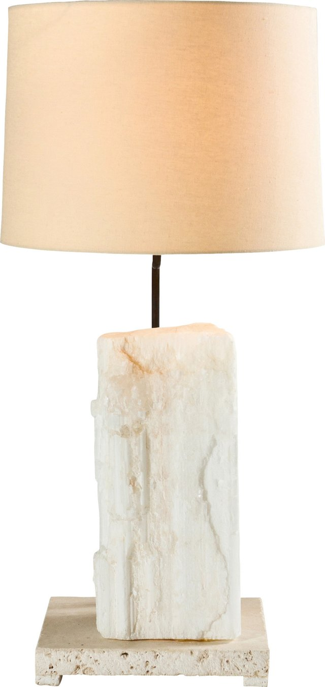 Selenite & Limestone Lamp