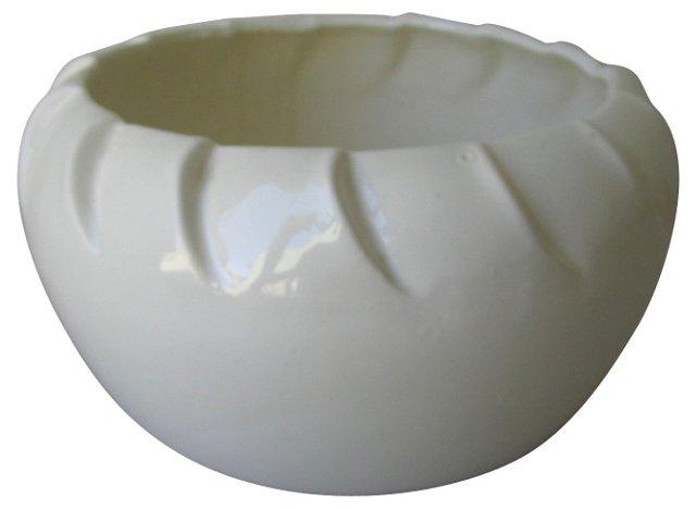 White Ceramic Folded Flower Pot