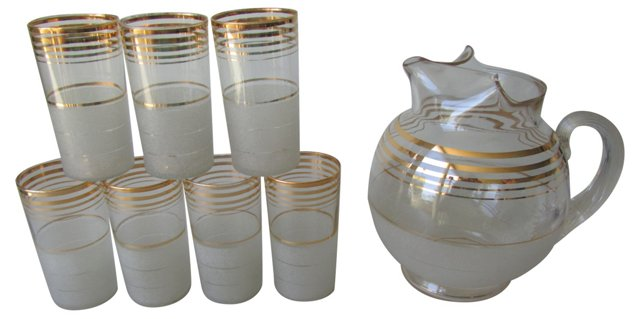 Gold Stripe Pitcher & 7 Glasses