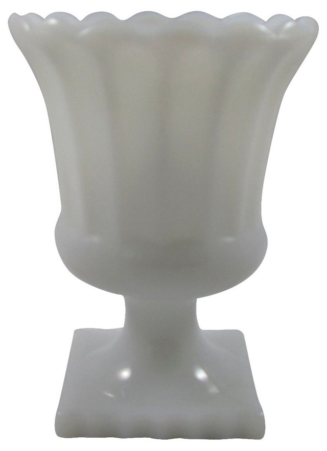Scalloped Milk Glass Pedestal Urn