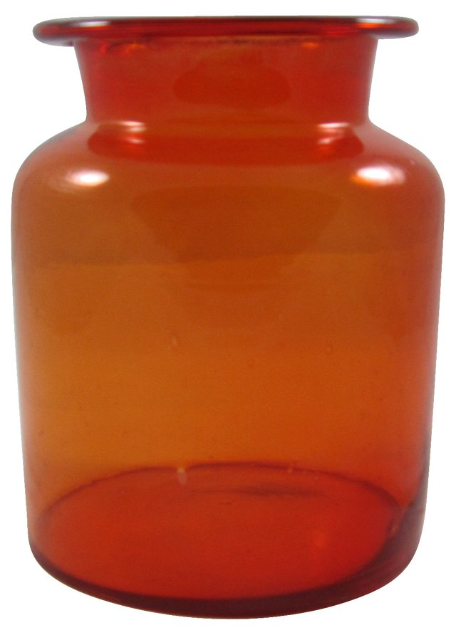 Red Blown Glass Canister