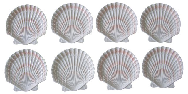 Ceramic Seashell Dinner Plates, S/8