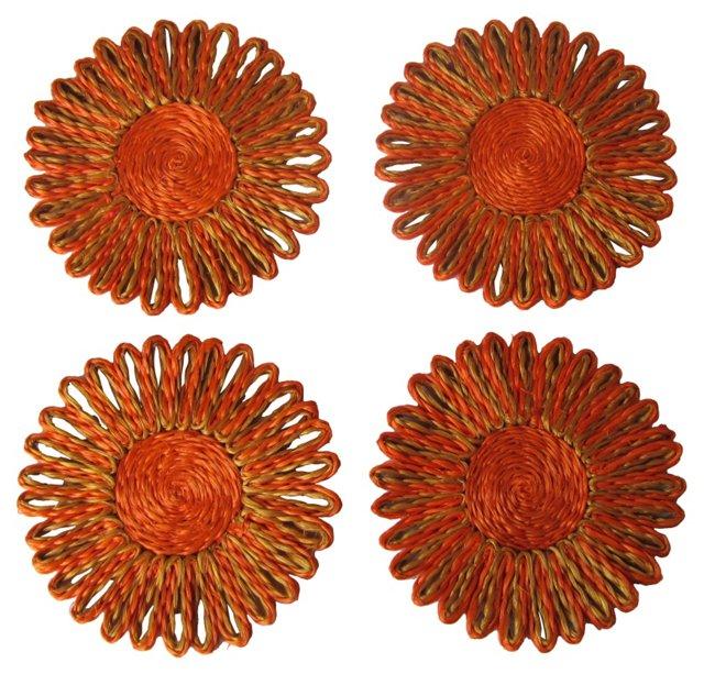 Orange Hemp Coasters, S/4