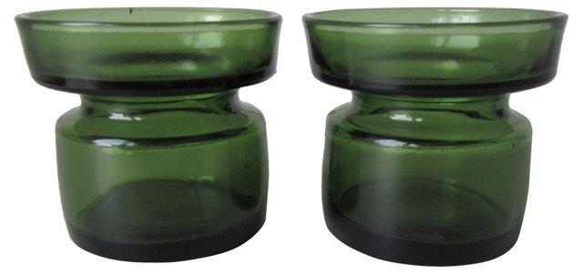Dansk Green Glass Candleholders, Pair