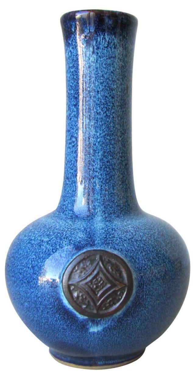 Blue Ceramic  Drip Vase