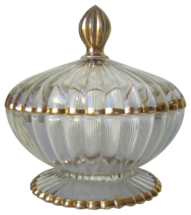 Gilded Covered Candy Dish