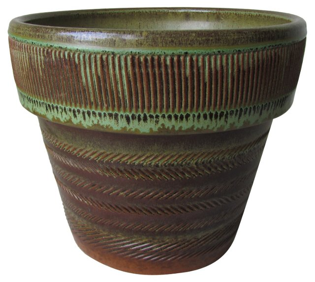 Brown & Green Stamped   Planter