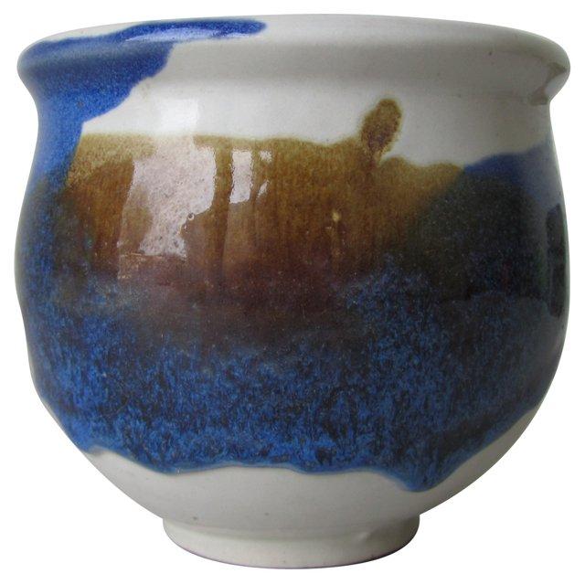 Blue & Brown Drip Ceramic Planter
