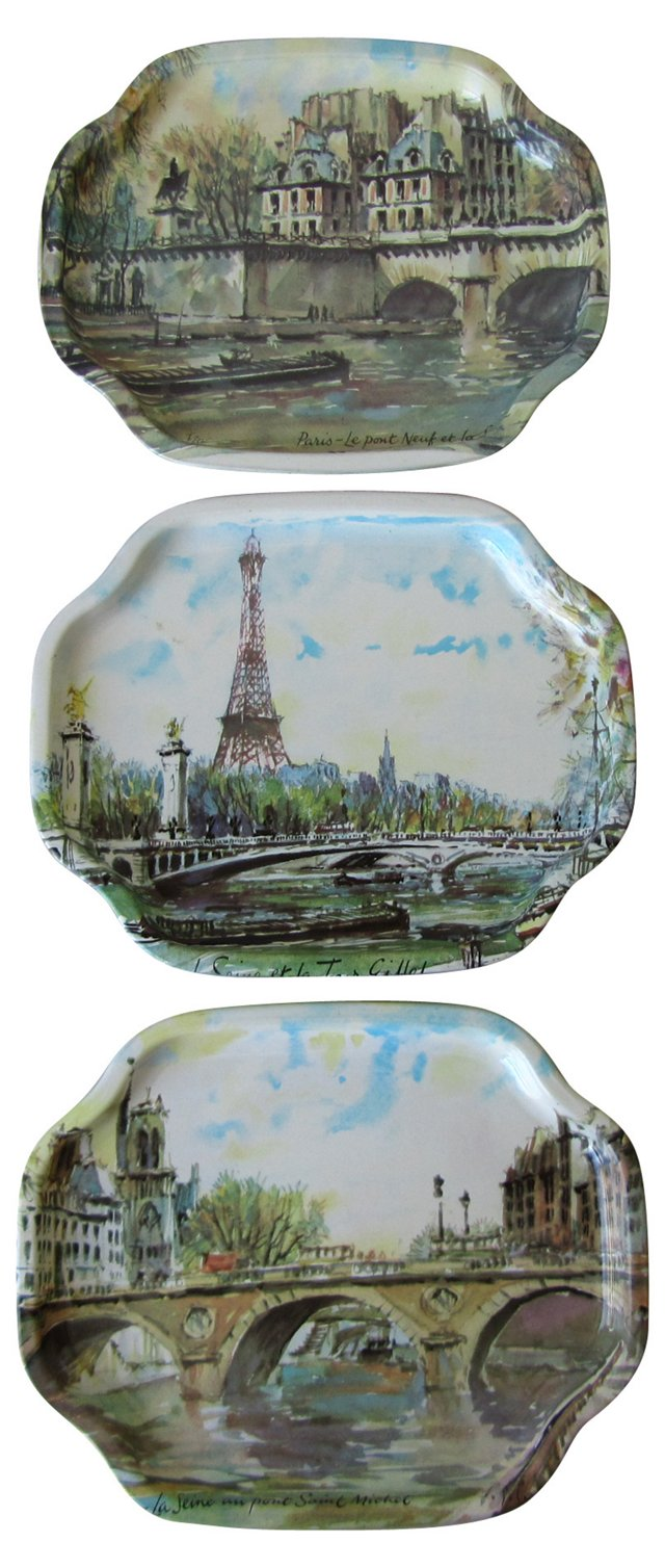 Parisian Souvenir Trays, S/3