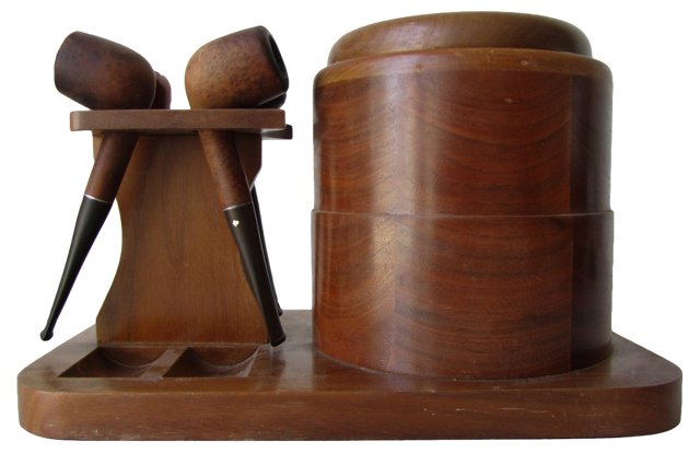 Pipe Stand w/ Humidor & Pipes