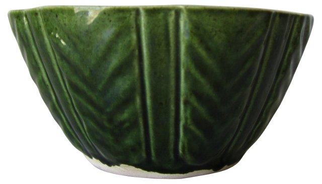 Green Ceramic Scalloped Bowl