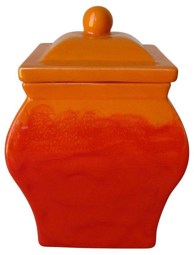 Orange Ombré Ceramic Lidded Urn