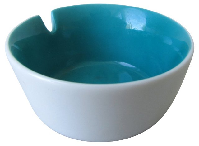 Turquoise & White Ceramic Ashtray
