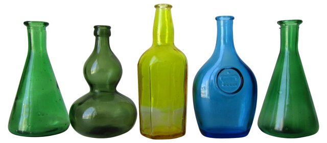 Colored Glass Bottles, S/5