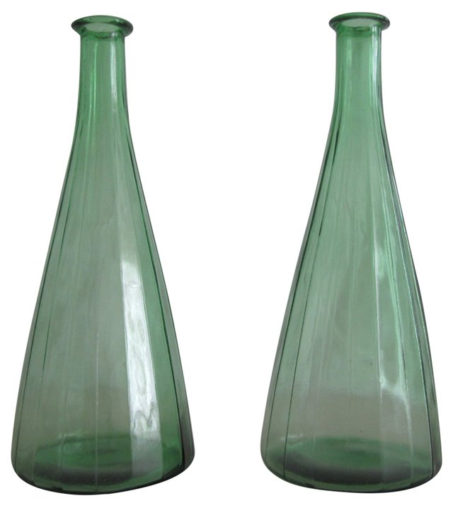 Ribbed Green Glass Bottles, Pair