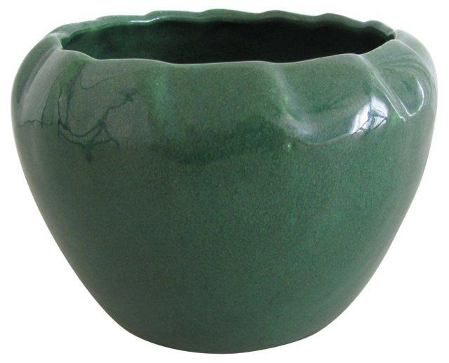 Green Scalloped Ceramic  Planter