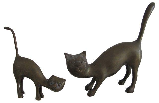 Midcentury Brass Cats, Pair