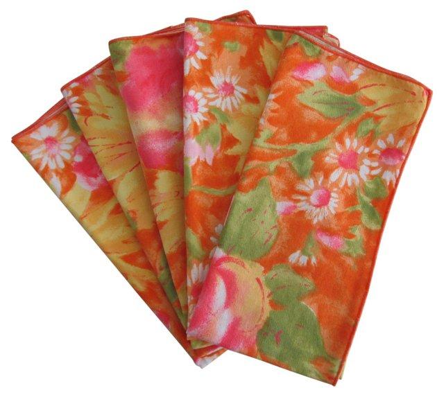 Orange & Pink Floral Napkins, S/5