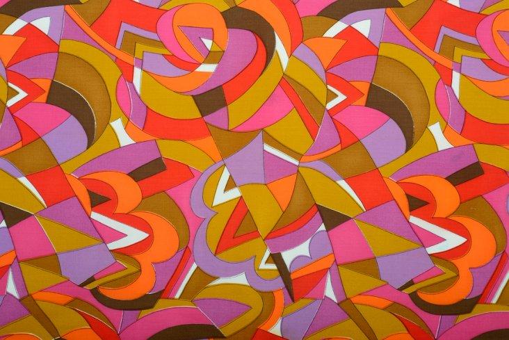 1960s Geometric-Print Fabric Sample