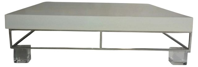 Lacquer Cocktail Table w/ Lucite Legs