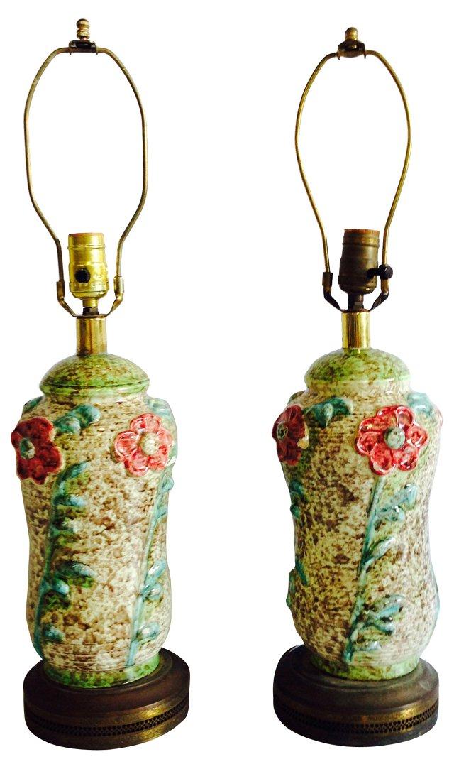Ceramic Textured Flower Lamps, Pair