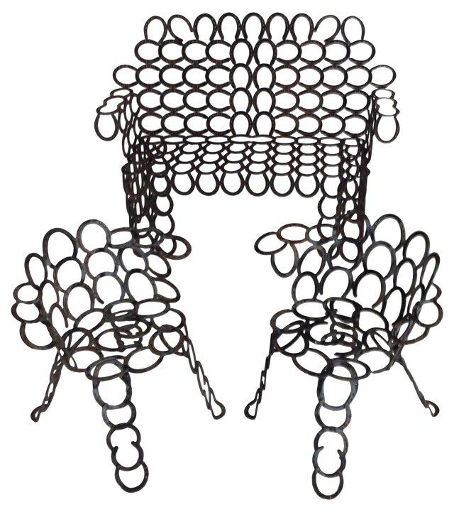 Cast Iron Horseshoe Bench & 2 Chairs