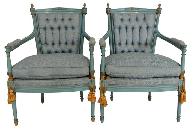 French-Style     Armchairs, Pair