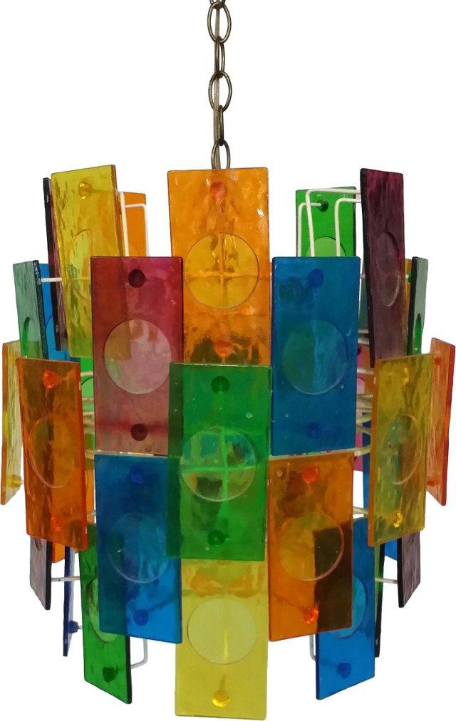 Rainbow Lucite Panel Swag Chandelier