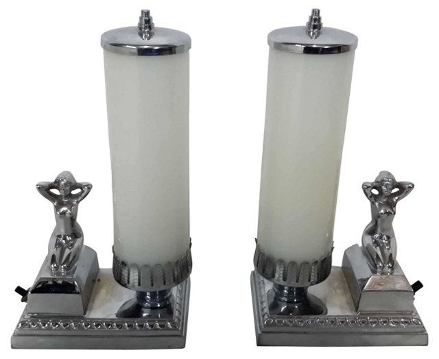Art Deco Chrome Lady Lamps, Pair