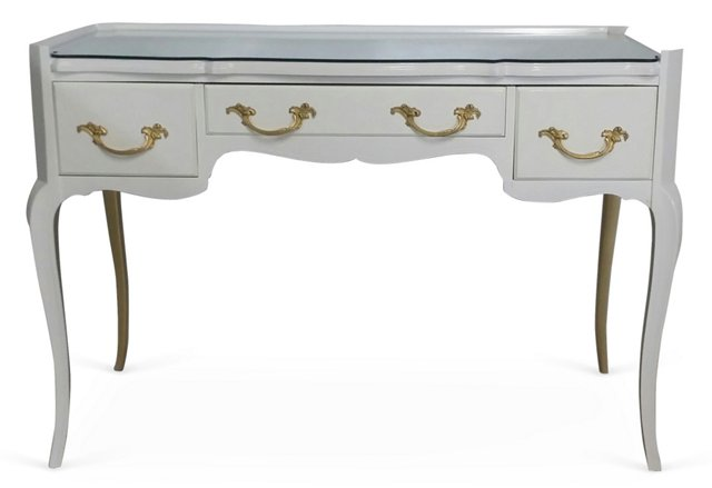 White & Goldtone French-Style Desk