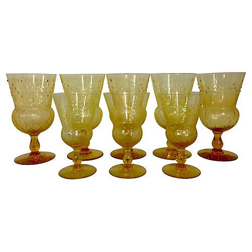 Yellow Glass Stem Goblets, S/7