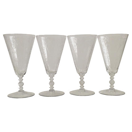 Etched Crystal Glasses, S/4