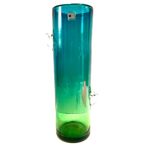 80's Blown Glass Ombré Vase By Blenko