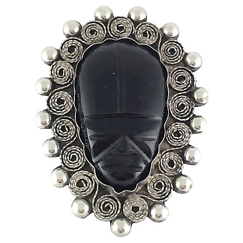 Sterling & Onyx Figural Mask Brooch