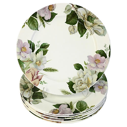 Staffordshire Floral Buffet Plates, S/6