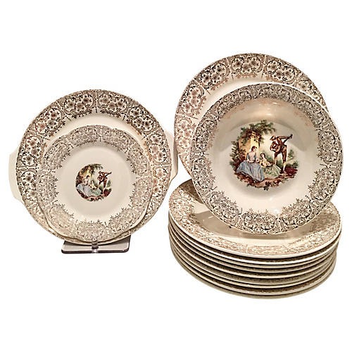 22K Gold Limoges Place Settings, 13 Pcs