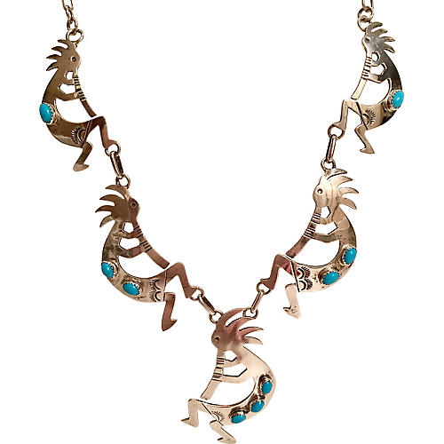 Sterling & Turquoise Kopolleli Necklace