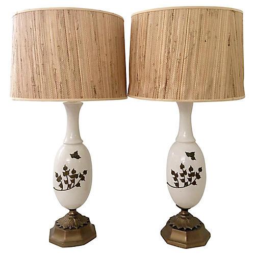 Ceramic & Bronze Egg Lamps, S/2