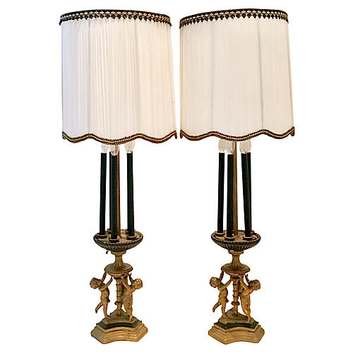 Antique Bronze Gilt Putti Lamps, Pair