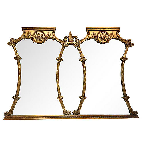 20th Century Giltwood Tryptich Mirror