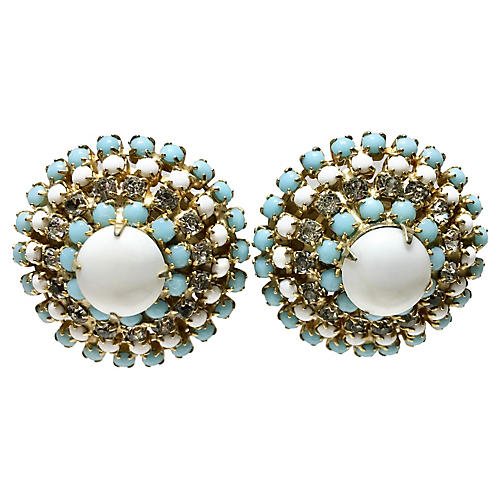 1950s Hobé Milk Glass & Crystal Earrings
