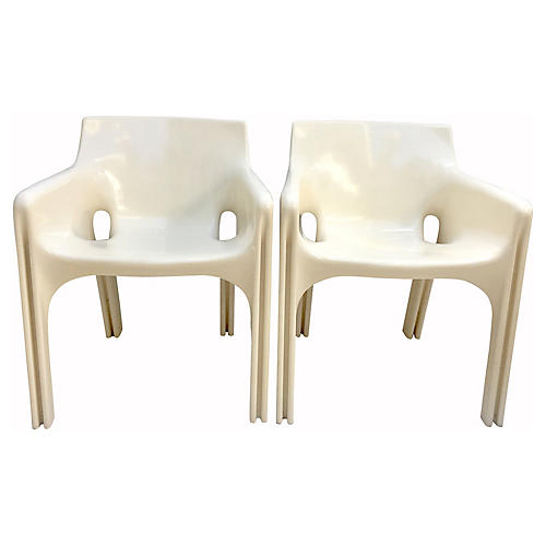 1970s Italian Molded Armchairs, Pair