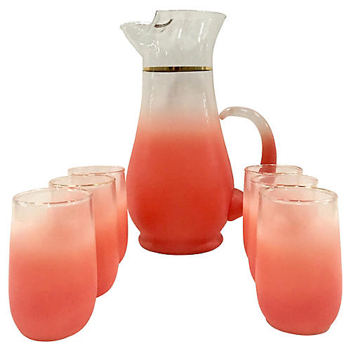 Frosted Glass Drink Set, 7 Pcs