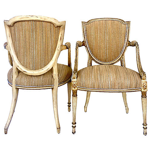 Antique French Shield-Back Chairs, Pair