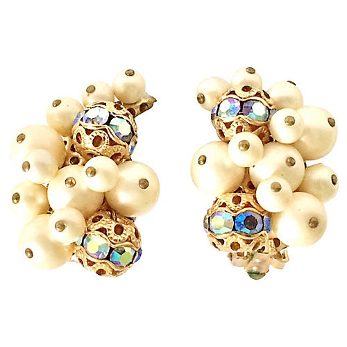 '50s Kramer Faux-Pearl Earrings