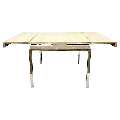 Wood & Chrome Expandable Table